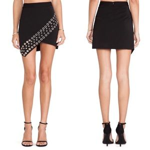 LOVERS + FRIENDS New York Mini Skirt Black Grommet